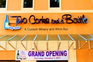 Two Corks and a Bottle signage