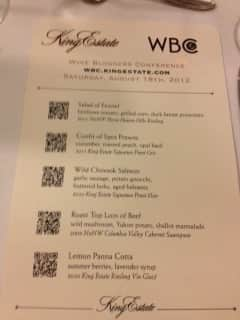 WBC Kings Estate Menu