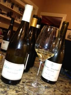 Vouvray 2 bottle and glass