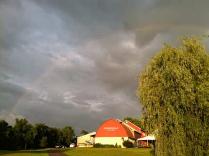 a rainbow over Unionville Vineyards