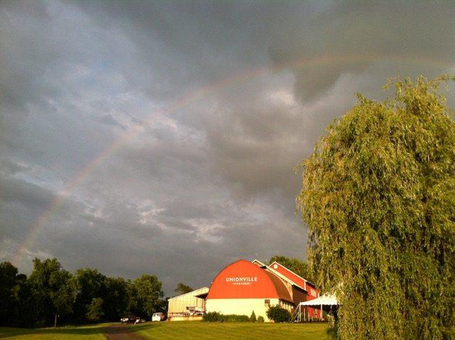 a rainbow over Unionville Vineyards